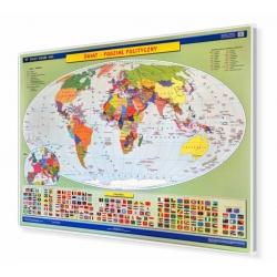 Świat podział polityczny 160x120cm. Mapa w ramie aluminiowej.