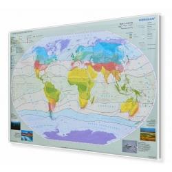 Świat strefy klimatyczne 166x114cm. Mapa w ramie aluminiowej.