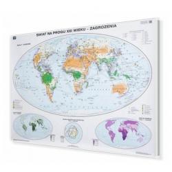 Świat na progu XXI w.Zagrożenia 160x120cm. Mapa w ramie aluminiowej.