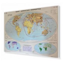 Świat. Górnictwo i energetyka 160x120cm. Mapa magnetyczna.