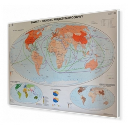 Świat handel międzynarodowy 160x120cm. Mapa w ramie aluminiowej.