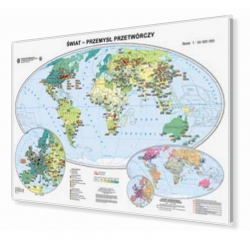 Świat - przemysł przetwórczy 160x120cm. Mapa w ramie aluminiowej.