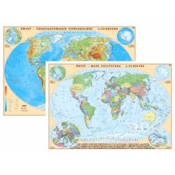 Świat polityczny i fizyczny 104x70cm. Mapa ścienna dwustronna.