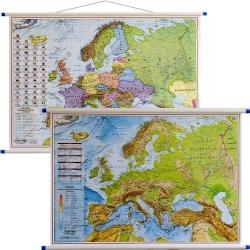 Europa polityczna i fizyczna 105x70cm. Mapa ścienna dwustronna.