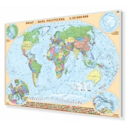 Świat polityczny 100x70cm. Mapa w ramie aluminiowej.