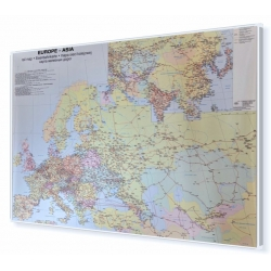 Europa, Azja sieć kolejowa 140x95cm. Mapa w ramie aluminiowej.