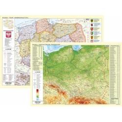 Polska administracyjno-fizyczna 104x70cm. Mapa ścienna dwustronna.