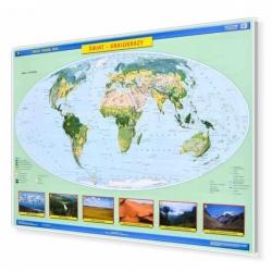 Świat krajobrazy 160x120 cm. Mapa w ramie aluminiowej.