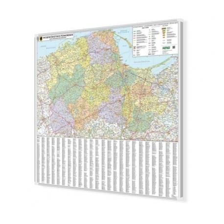 Pomorskie 98x100 cm. Mapa w ramie aluminiowej.