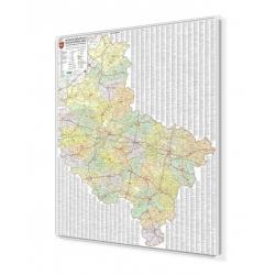 Wielkopolskie administracyjno-drogowa 100x124cm. Mapa w ramie aluminiowej.