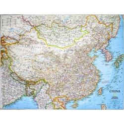Chiny 1:7,8mln NG Mapa scienna 84x60cm