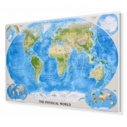 Świat Fizyczny 180x125cm. Mapa w ramie aluminiowej.