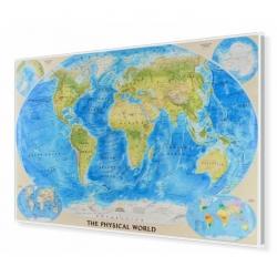 Świat Fizyczny 122x78cm. Mapa w ramie aluminiowej.