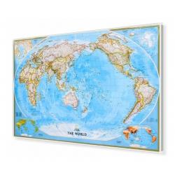 Świat polityczny Pacific Centred 190x124cm. Mapa w ramie aluminiowej.