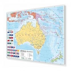 Australia polityczna 148x98cm. Mapa w ramie aluminiowej.