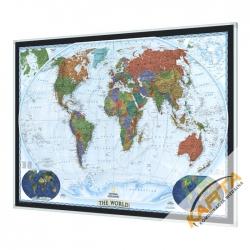 Świat Polityczny Dekoracyjny 120x78cm. Mapa w ramie aluminiowej.
