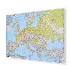 Europa fizyczno-drogowa 180x120cm. Mapa w ramie aluminiowej.