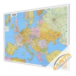 Europa Polityczno-Drogowa 170x122 cm. Mapa w ramie aluminiowej.