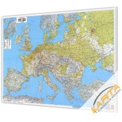 Europa Fizyczno-Drogowa 126x90 cm. Mapa w ramie aluminiowej.