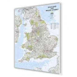 Anglia i Walia administracyjno-drogowa 82x92cm. Mapa do wpinania.