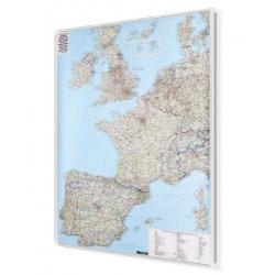 Europa Zachodnia drogowa 96x124cm. Mapa w ramie aluminiowej.