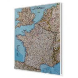 Francja, Belgia, Holandia, Anglia, Walia 64x77cm. Mapa do wpinania.