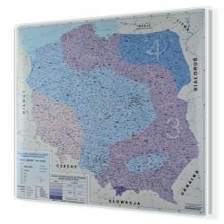Polska z podziałem na strefy obciążenia śniegiem 130x120cm. Mapa do wpinania.