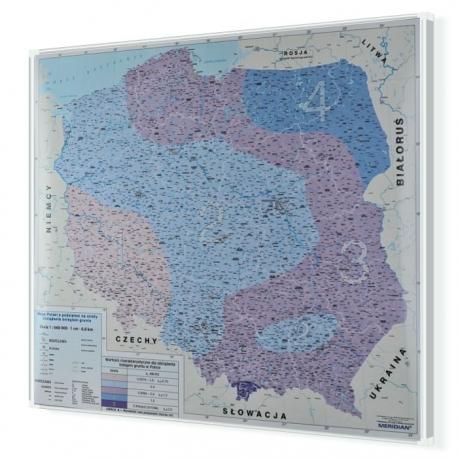 Polska z podziałem na strefy obciążenia śniegiem 120x110cm. Mapa w ramie aluminiowej.
