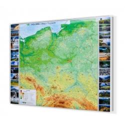 Polska fizyczna 180x140cm. Mapa w ramie aluminiowej.