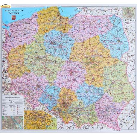 Polska administracyjno-drogowa z kodami pocztowymi 104x96cm. Mapa ścienna.