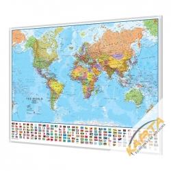 Świat Polityczny z flagami 140x100 cm. Mapa magnetyczna.
