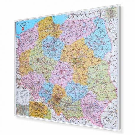 Polska administracyjno-drogowa z kodami pocztowymi 104x96cm. Mapa magnetyczna.