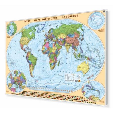 Świat polityczny 197x140cm. Mapa w ramie aluminiowej.