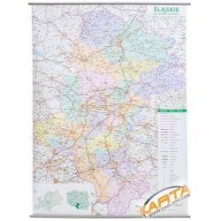 Śląskie administracyjno-drogowa 98x132cm. Mapa ścienna.