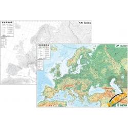 Europa ogólnogeograficzna(fizyczna)/konturowa (do ćwiczeń) 204x136cm. Mapa ścienna dwustronna.