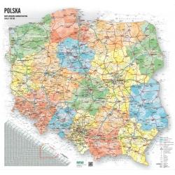 Polska administracyjno-drogowa 104x92cm. Wersja Strong. Mapa ścienna.
