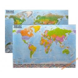 Świat Polityczny/fizyczny 138x97cm. Mapa ścienna dwustronna.