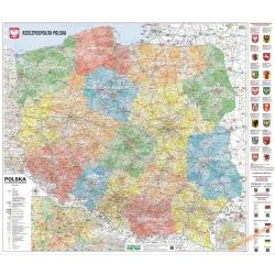 Polska Administracyjno-drogowa (tablice rejestracyjne) 164x136cm. Mapa ścienna.