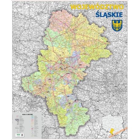 Śląskie administracyjno-drogowa 104x116cm. Mapa ścienna.
