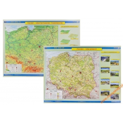 Polska ukształtowanie powierzchni (fizyczna)/krajobrazy 162x120cm. Mapa ścienna dwustronna.