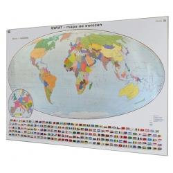 Świat polityczny do ćwiczeń 200x140cm. Mapa w ramie aluminiowej.