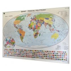 Świat polityczny 200x140cm. Mapa w ramie aluminiowej.