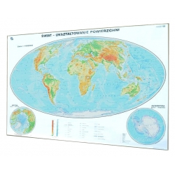 Świat ogólnogeograficzna- fizyczna 200x140 cm. Mapa magnetyczna.