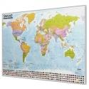 Świat Polityczny 138x97cm. Mapa magnetyczna - rama srebrna.
