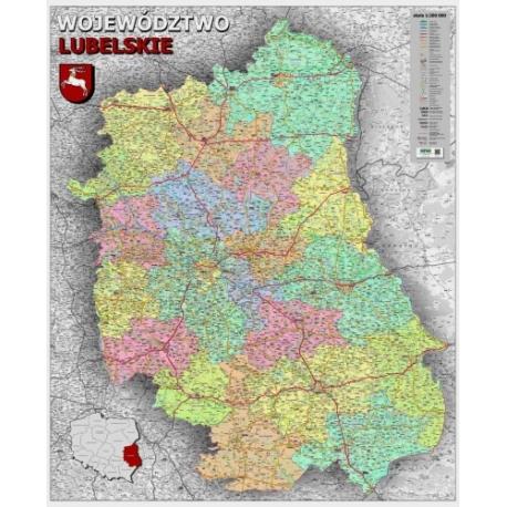 Lubelskie administracyjno-drogowa 104x120cm. Mapa ścienna.