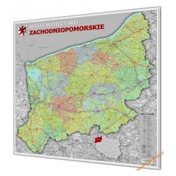 Zachodniopomorskie administracyjno-drogowa 100x120cm. Mapa magnetyczna.