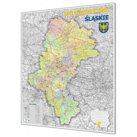 Śląskie administracyjno-drogowa 104x116cm. Mapa do wpinania.