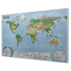 Świat fizyczny/krajobrazowy 138x97cm. Mapa magnetyczna - rama srebrna.