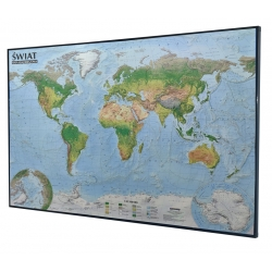 Świat fizyczny/krajobrazowy 138x97cm. Mapa magnetyczna-rama czarna.