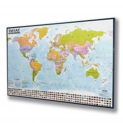 Świat Polityczny 138x95cm. Mapa w czarnej ramie aluminiowej.
